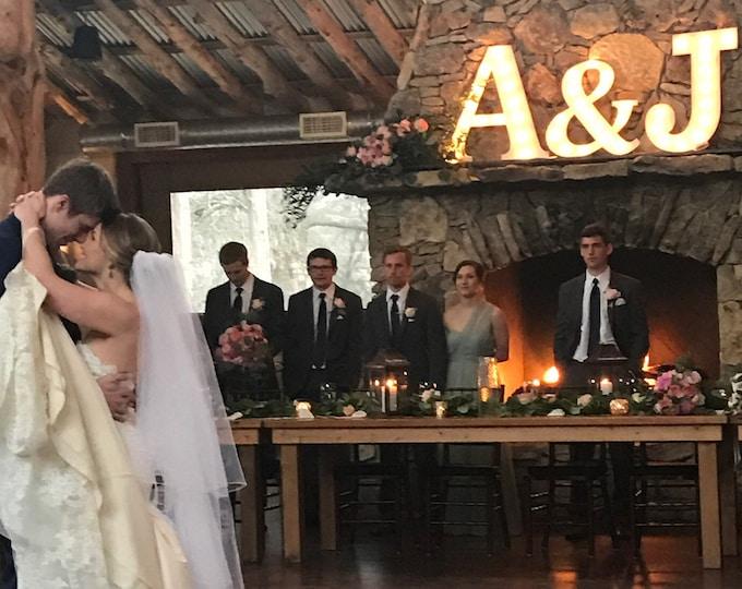 """3pc Marquee Trio Wood 24"""" & 16"""" Wedding Engagement Anniversary Lover Home.... A B C D E F G H I J K L M N O P Q R S T U V W X Y Z"""