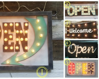 OPEN Sign Lighted Marquee Large Custom Vintage Inspired Wood Sign… Open Lighted Sign Business Boutique Vendor Event