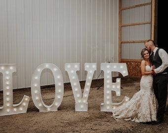 """Metal Marquee LOVE 48"""" Boise Idaho LOVE RENTAL Sign Metal Steel..........Wedding Rental"""