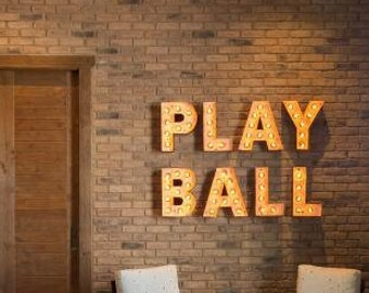 Big Marquee Sign 4pc LOVE PLAY Lighted Marquee Letters Custom Personalized Marquee Letters........Wedding Business Engagement Bar Home Eat