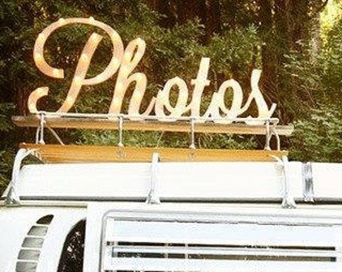 Personalized Lighted Metal Steel Marquee Script... Photos LOVE Open Bar Dream Imagine Custom.. Wedding Gift Anniversary Booth Bus Restaurant
