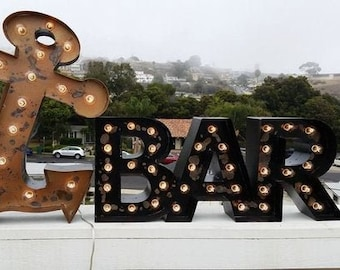 Metal Marquee Sign Marquee Letters Metal Steel Large Script Sign...........   Bar Hola Photos Business  Bar Home Eat