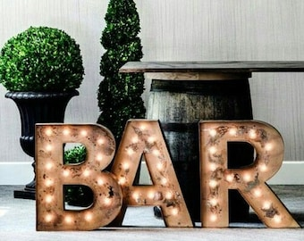 "IN STOCK 3pc 24"" BAR Large Metal Letter Marquee Vintage Inspired... Wedding, Bar, Business"