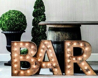 """Metal Marquee Letters, marquee letter, light up letter, Lighted Letter, 14"""" to 24"""" GAME TIME BAR"""