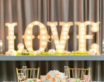Marquee Sign Letters 4pc Personalized LOVE PLAY Wood Lighted Marquee Sign ......Wedding Photo Prop Pictures Party
