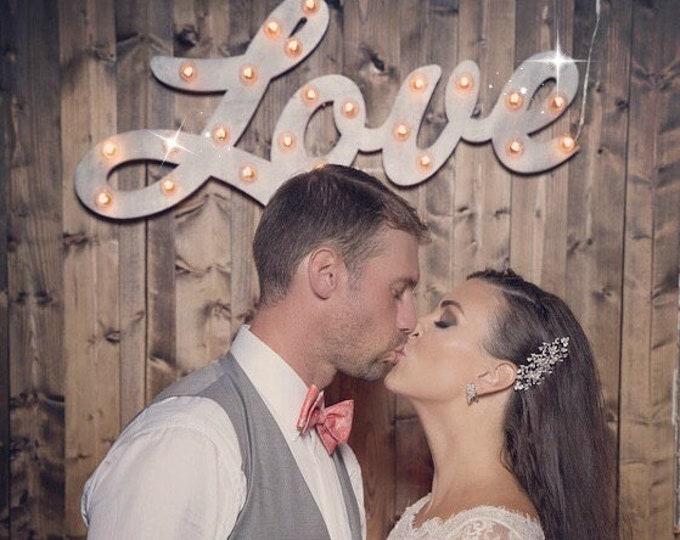 Wood Love Marquee Lighted Sign Custom Personalized... Photos LOVE Play Eat BBQ Open Bar Dream Custom.. Wedding Gift Vendor Restaurant