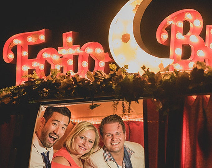 LARGE Script Vintage Style Marquee Lighted Sign Letters Metal Steel...........Photos Booth Bus Boutique Business  Bar Home Eat