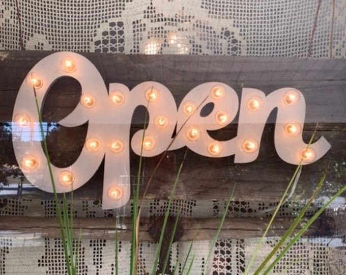 Featured listing image: Lighted Open Sign / Open Sign Marquee / Wood Lighted Open Sign / Custom Sign / Incandescent or LED Lighted Sign / Open Sign