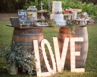 "Marquee Sign 4pc Personalized 24"" LOVE PLAY Wood Lighted Marquee Sign Marquee Letters Lighted Letters......Wedding Photo Prop Pictures Party"