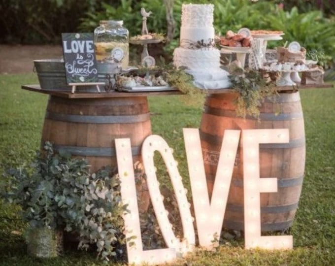 """4pc Personalized 24"""" LOVE PLAY Wood Lighted Marquee Sign ......Wedding Photo Prop Pictures Party"""