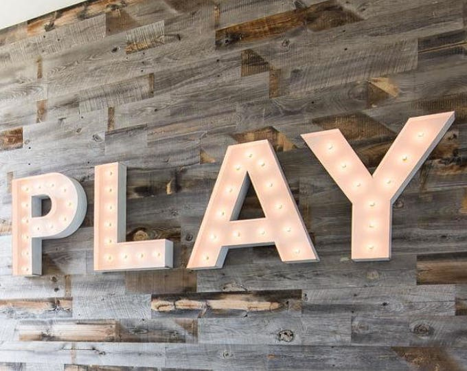 4pc PLAY LOVE Ball ME&U Lighted Marquee Sign 4pc Custom Personalized Metal.........Wedding Business Engagement Bar Home Eat
