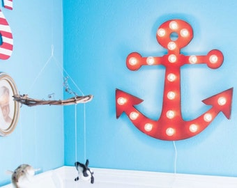 Wood Anchor Marquee / Lighted Anchor Sign / Nautical Sign / Bathroom Decor / Beach House Decor / Lighted Sign / Lit Anchor Sign