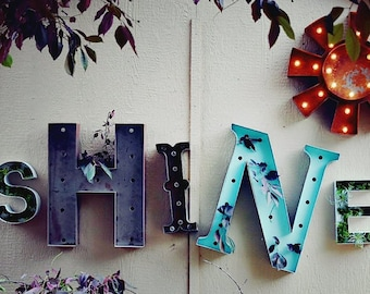 IN STOCK SALE Metal Letters Succulents, Plants, Mixed Magnolia Style Letter Decor Farmhouse Vintage Inspired