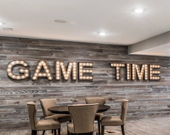 "Metal Marquee Letters, marquee letter, light up letter, Lighted Letter, 14"" to 24"" GAME TIME BAR"