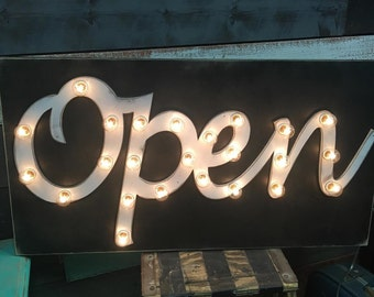 OPEN Sign Lighted Marquee Sign Large Custom Vintage Inspired Wood Sign… Business Boutique Vendor Event