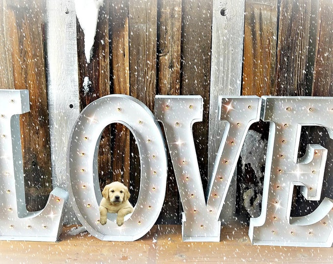 """HUGE 3ft 36"""" LOVE Vintage Style Marquee 4pc Letters Metal Steel..........Business  Wedding Engagement Bar Home Eat"""