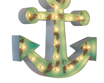 Large Metal Lighted Anchor Marquee Sign