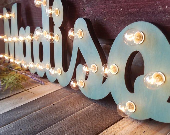 Wood Marquee Lighted Sign Custom Personalized... LOVE Play Eat BBQ Open Yum Bar Dream Custom.. Wedding Gift Anniversary Vendor Restaurant
