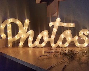 Photos Sign Marquee Sign Lighted Metal Marquee Letters...LOVE Open Bar Dream Imagine Custom.. Wedding Gift Anniversary Photo Booth Bus