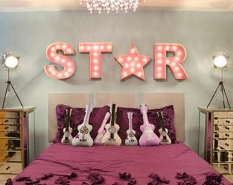"""4pc Set 18"""" Old Vintage Style Marquee Metal Steel........... Wedding Event Teen Room Super Rock Star Birthday Home Decor"""