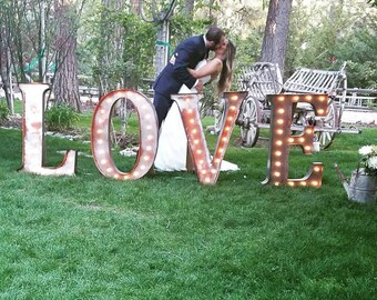 Marquee Sign 4pc LOVE PLAY Lighted Marquee Letters Custom Personalized Marquee Letters........Wedding Business Engagement Bar Home Eat