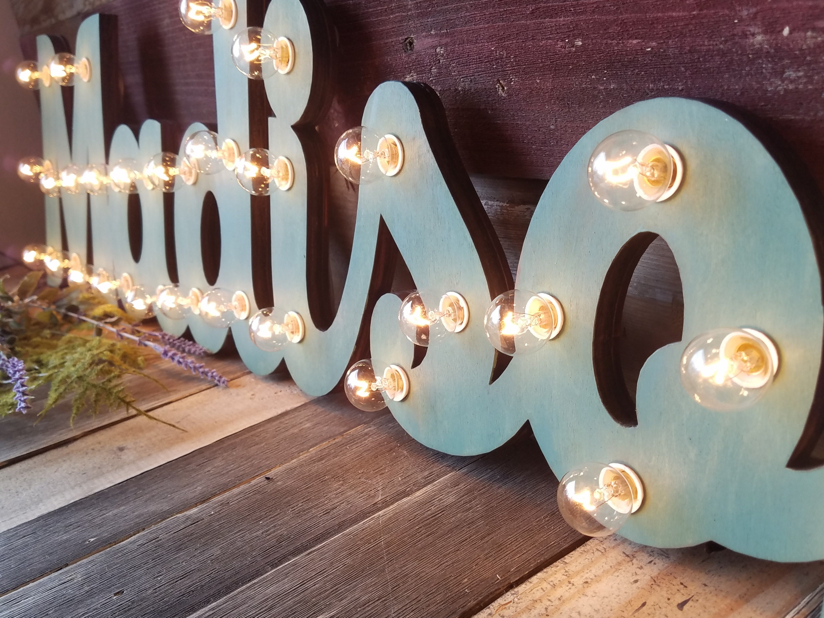 Marquee Sign Wood Letters Name Personalized Lighted Marquee Sign