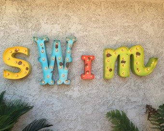 Channel Sign 4pc Vintage Style Marquee Lighted Letters Metal Steel..........SWIM LOVE HoMe ME&U baby KinD WiSh Play Hope