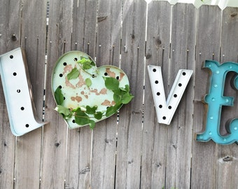 STOCK SALE Love 4pc Vintage Style Marquee Lighted Letters Metal Steel.......... HoMe ME&U baby KinD WiSh Play Hope