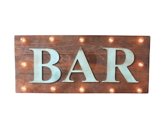 Vintage Style Custom Wood Lighted Sign BAR BEER PHOTOS Cocktails Cheers Open