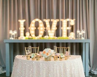 "4pc Personalized 24"" LOVE PLAY Wood Lighted Marquee Sign ......Wedding Photo Prop Pictures Party"