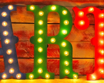 """24"""" Marquee Letter Sign LARGE Vintage Circus Carnival Marquee Letters Wood...........  A B C D E F G H I J K L M N O P Q R S T U V W X Y Z"""