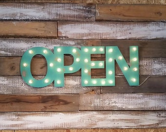 Marquee Sign Open Sign, LOVE, BAR Metal Marquee Letters .. Business Studio Boutique Opening Wedding Gift Anniversary Vendor Restaurant