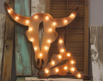 Marquee Sign Large Cow Bull Steer Metal Marquee…Cowboy Cowgirl Family Room Gun Western