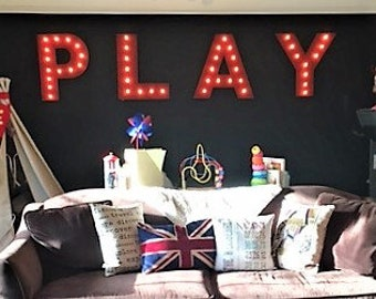 Marquee Sign Marquee Letters 4pc Personalized PLAY LOVE Wood Lighted Marquee Sign ....Game Room Kids Room Wedding Photo Prop Pictures Party