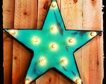 """Marquee Sign 24"""" Star Vintage Marquee Lighted Wood…"""