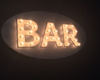 Large Custom BAR LOVE EAT Vintage Inspired Marquee Lighted Wood Sign… Kitchen, Bar, Wedding, Anniversary Shower Gift