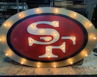 """24"""" Marquee Sign Large Team Logo Marquee… Sports Team 49ers Dodgers Giants Eagles Packers Angels… Game Room Man Cave Boys Room Family Room"""