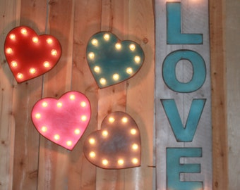 SALE Little Heart BIG Personality Vintage Inspired Marquee Lighted Wood... Valentines, Wedding, Anniversary, Gift