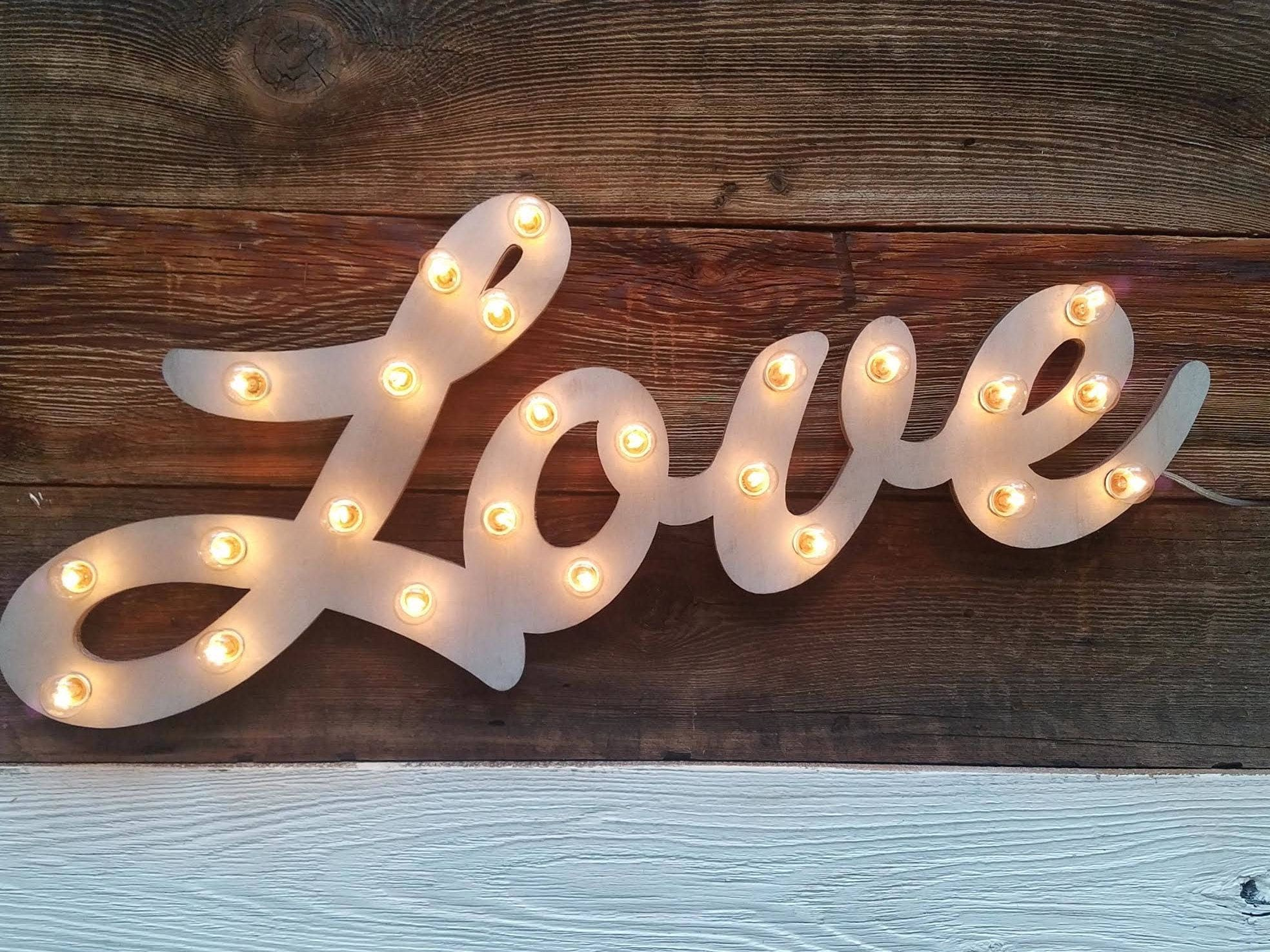 marquee sign lighted wood custom personalized marquee love sign letters love play open bar dream custom wedding gift vendor restaurant