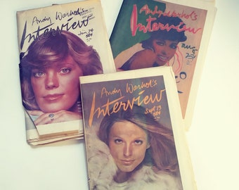 """3~ 1974 issues of Andy Warhol's """"Interview"""" Magazines"""