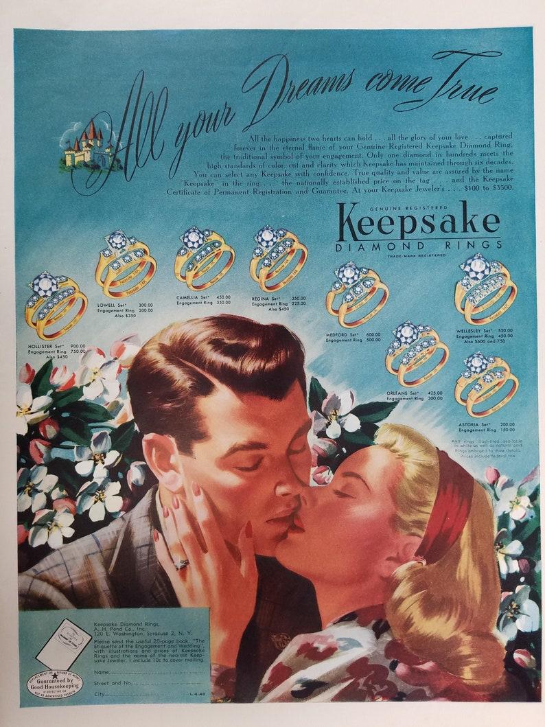 Keepsake Diamond Rings Original Vintage Magazine Ad Wedding Etsy