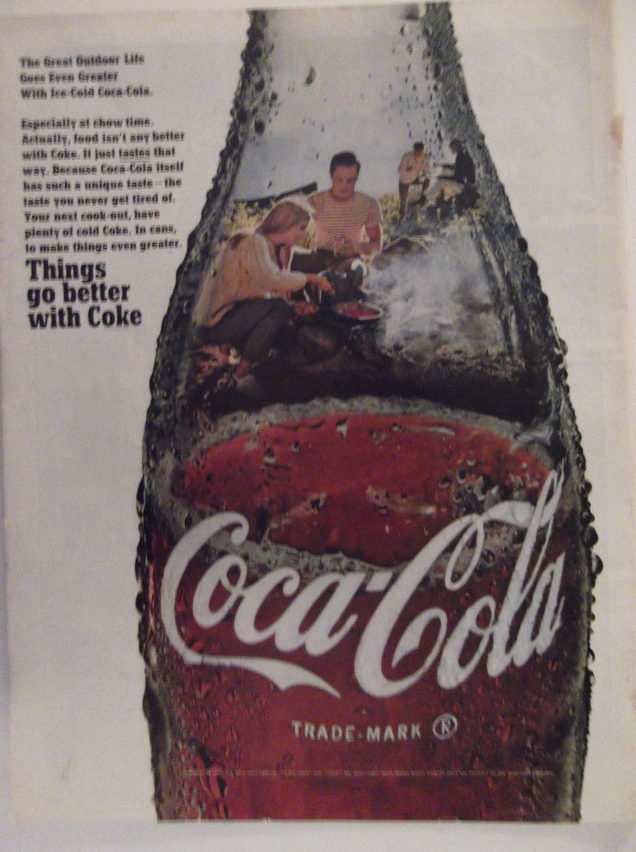 COCA-COLA AD Original 60er Jahre Vintage Ad Küche Cafe