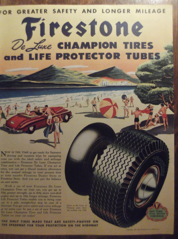 Firestone Tires Original Vintage 1940 S Advertisement Etsy