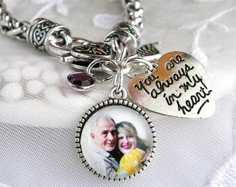 Photo Memory Charm Bracelet Always in my Heart Charm Picture Charm Memory Bracelet Sympathy Gift Custom Photo Bracelet Memory Jewelry Gift