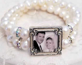 Freshwater Pearl Photo Bracelet Bridal Jewelry Wedding Gifts
