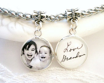 Photo Charm for Pandora Bracelet Signature Charm Bridal Bouquet Memory Charm for Bracelet Wife Gift for Grandmom Handwriting Pendant Gift