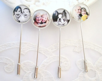 Photo Lapel Pin Groom Gift Boutonnière Photo Charm Gift for Father of the Bride Wedding Photo Memory Jewelry Best Man Gift Sympathy Gift