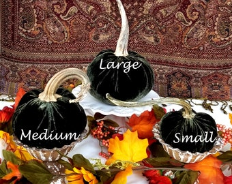 Silk VELVET Pumpkins Real Stems! Forest Green White Orange Blue Pumpkins Best Seller! Thanksgiving Table Centerpiece Wedding Pumpkins