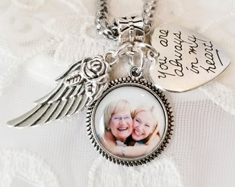 Memory Photo Charm Necklace Memorial Jewelry Angel Wing Loss of Mom Dad Grandmother Brother Son Sympathy Jewelry Photo Gift