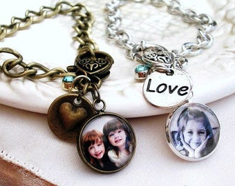 Picture Charm Bracelet Mothers Gift for Wife Photo Charm Bracelet Photo Jewelry Bracelet for Grandmother Child Charm Bracelet Daughter Gift